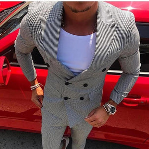 Fashion Check Printed Flip Collar Suits