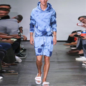 Fashion Marine Tie-Dye Men's Hooded Sweater Suit