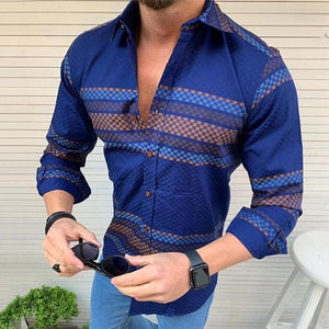 Men's Casual Lapel Single-Row Button Print Shirt