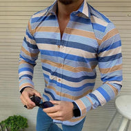 Casual Men's Lapel Single-Breasted Striped Shirt