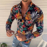 Men's Casual Lapel Single-Row Button Print Long-Sleeved Shirt