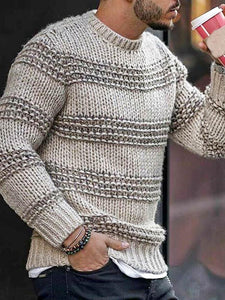 Casual Loose Round Neck Long Sleeves Jacquard Sweater