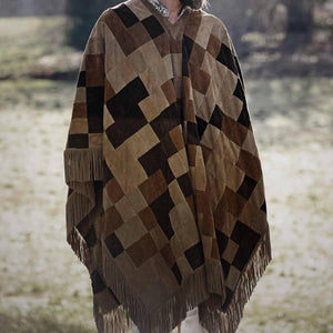 Casual Splicing Plaid Tassel Cloak