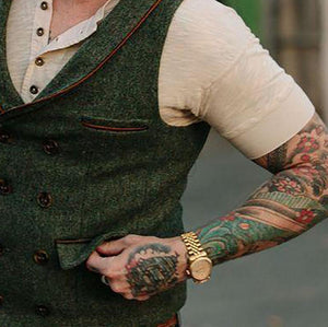 Simple Edging Contrast Double-Breasted Vest