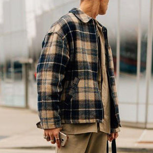 Street Fashion Zipper Plaid Jacket