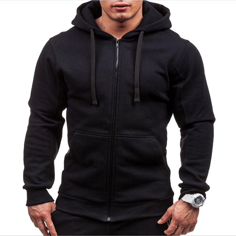 2019 New Casual Solid Color Zipper Hoodie