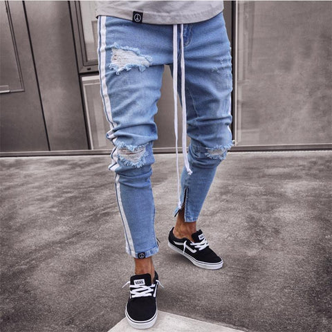 Fashion Hole Elastic Jeans