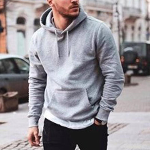 Fashion Solid Color Men's Basic Long-Sleeved Sweater