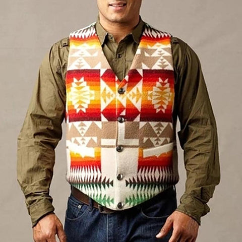 Casual Printed V Neck Single Breasted Vest