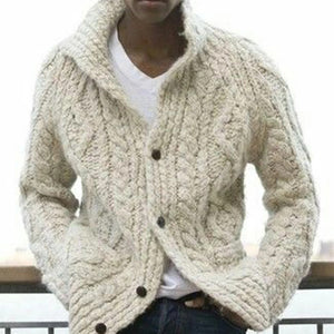 Casual Single-Breasted Pure Color Sweater