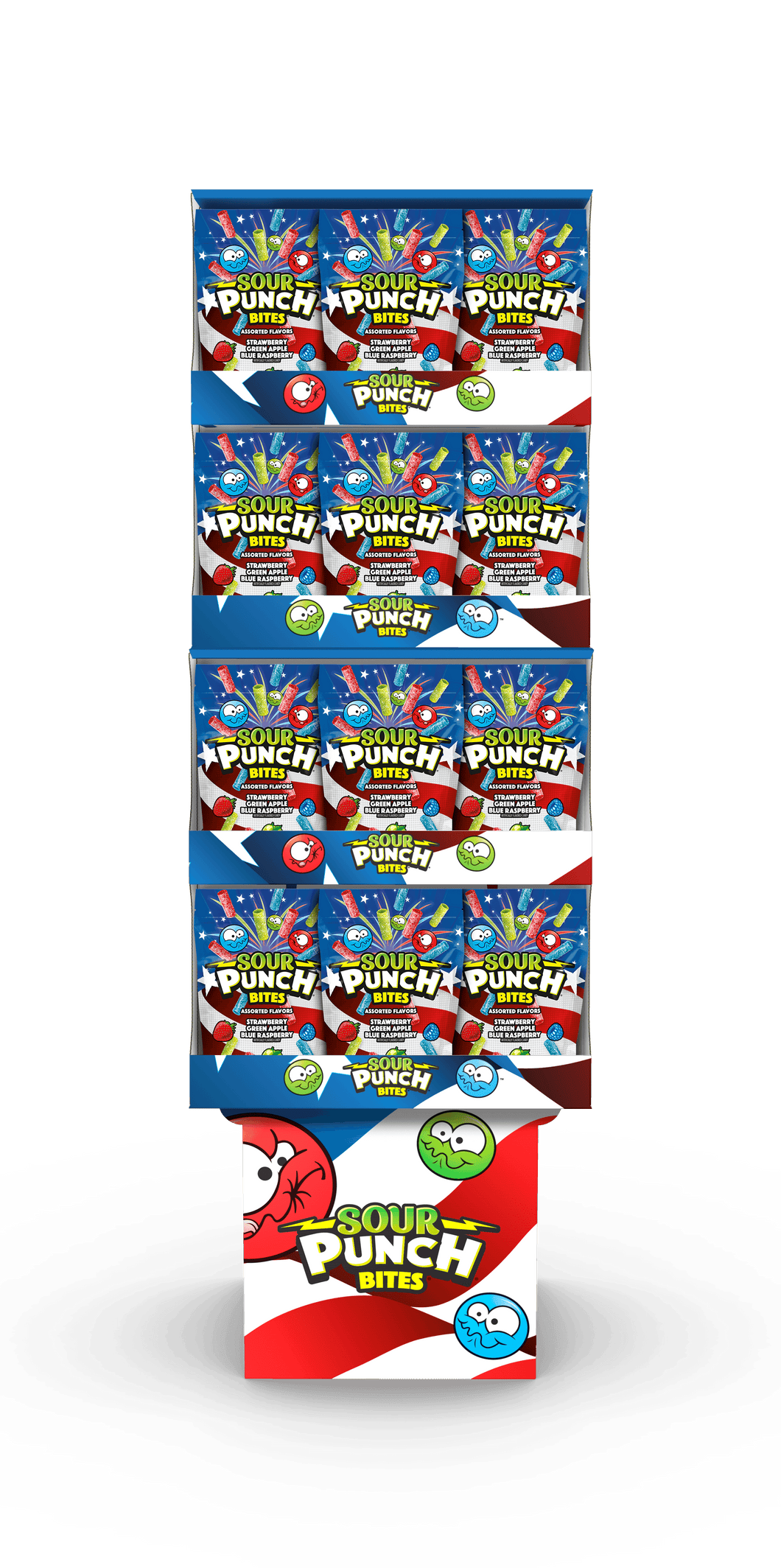 SOUR PUNCH® BITES® 36ct 9oz Assorted Flavors – AMERICANA THEMED FLOOR DISPLAY