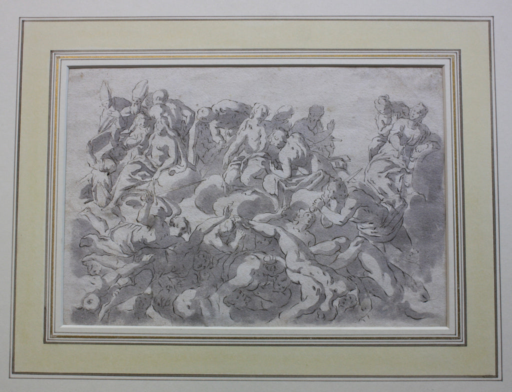 A ceiling design with embattled figures