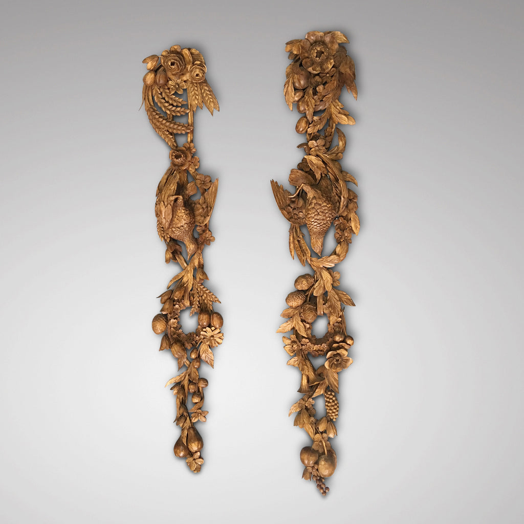 Pair of carved limewood drops