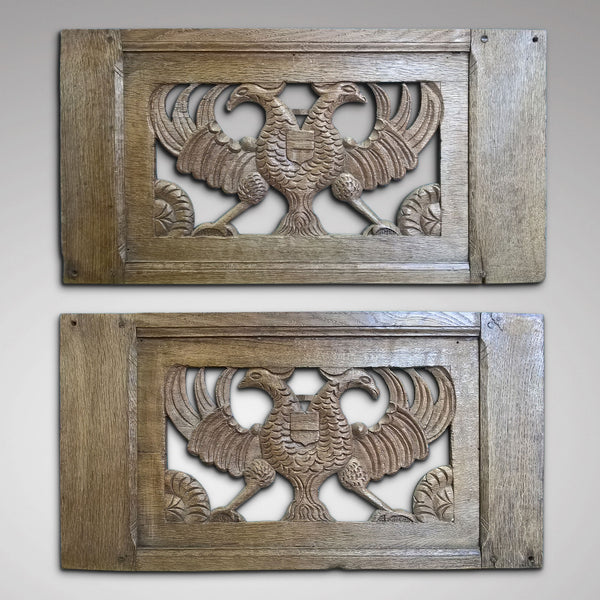 Pair of oak panels with Imperial Eagles