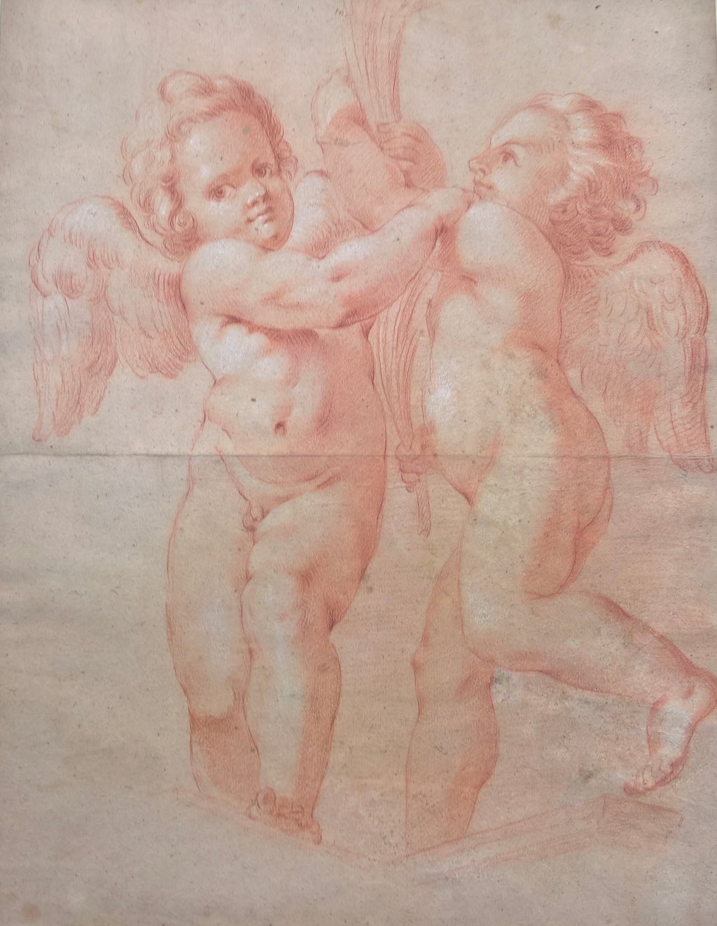Two Putti with Palms, Circle of Agostino Carracci (1557-1602)