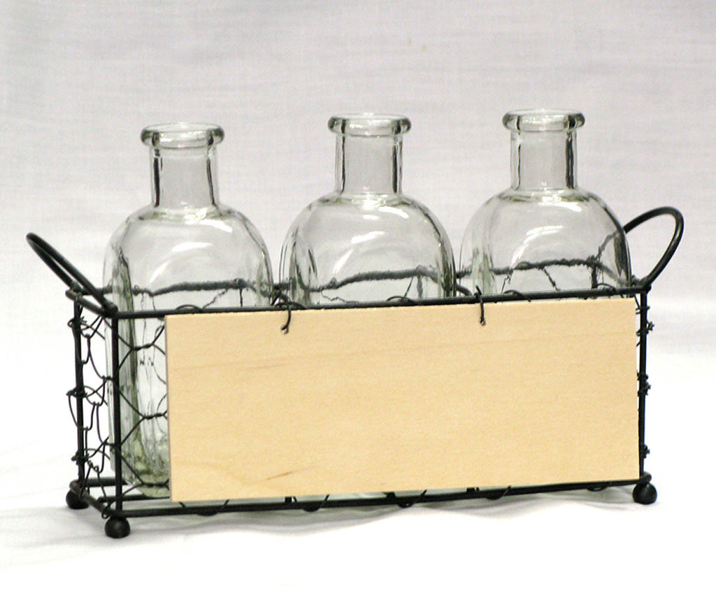 Basket, Wire Rectangle w/ (3) Bottles