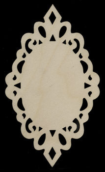 "Ornament, Lacy Oval, 7"" x 4"","
