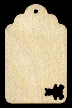 "Gift Tag, Laser-Cut, Bear, 4 1/2"" x 2 3/4"","