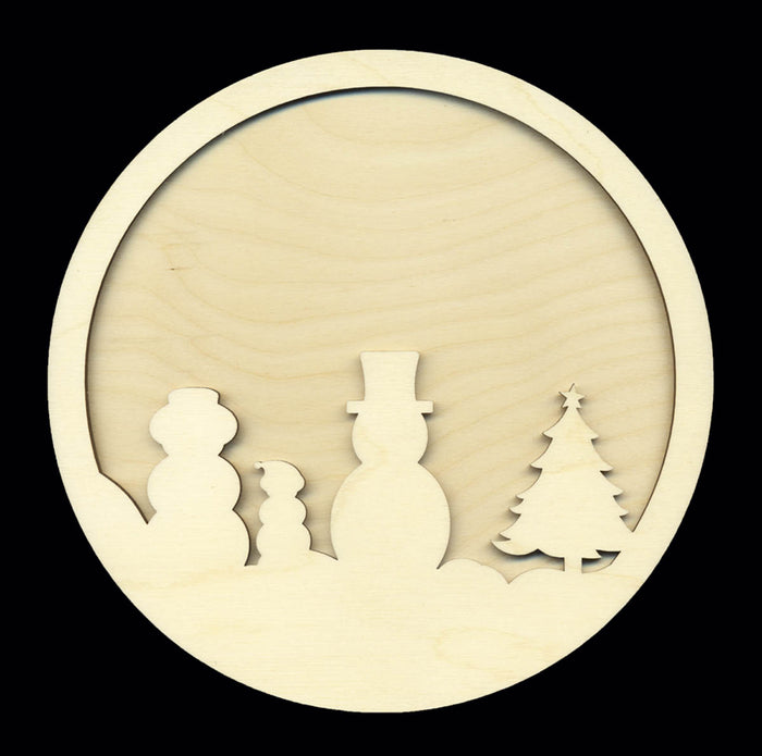 Frame Kit, Circle w/ Snowmen & Tree