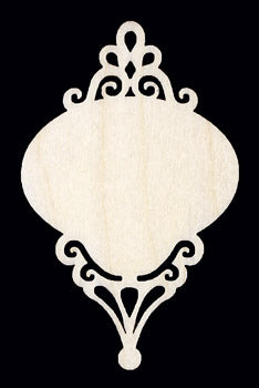 "Ornament, Scroll Small Wide Oval, 3"" T x 2"" W,"