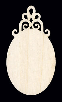 "Ornament, Scroll Top Small Oval, 3 1/4"" T x 1 3/4"","