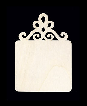 "Ornament, Square w/ Scroll, 3"" x 2"", P.S. 2"" Sq,"