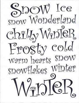 Stencil-Winter Curly Words 261