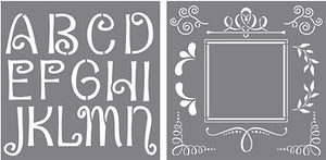 "Stencil, Quirky Initial by DecoArt, 3"" and 4"" Letters,"