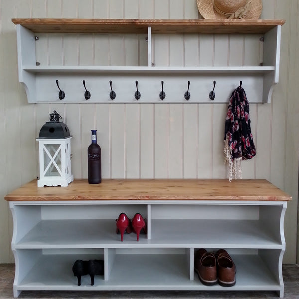 Shoe bench with coat rack complete hallway set. Shoe rack and coat hooks in a choice of colours and sizes