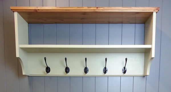 Hat & coat rack with shelf. Painted wall mounted solid wood display shelves with cast iron hooks for hall kitchen bathroom or bedroom