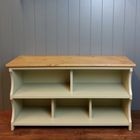 Country Shoe Bench With Cubbies