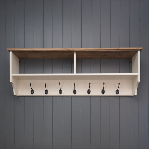 Wide painted hat & coat rack with shelf. Wall mounted solid wood display shelves with cast iron hooks for hall kitchen bathroom or bedroom