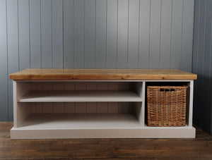 Rustic Shoe Bench With A Side Basket