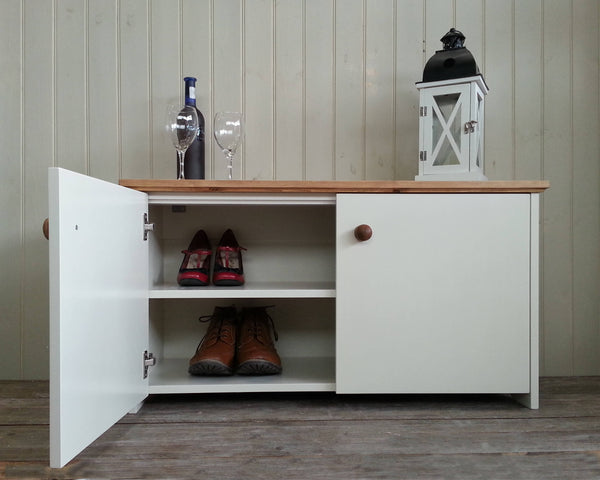 Shoe rack cabinet bench with storage shelves and soft close doors. Cupboard with fixed shelf for hallway living and dining room or study