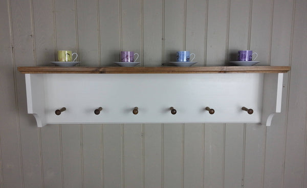 Single shelf hat & coat rack with back. Wall mounted solid wood storage with coat pegs for hall kitchen bathroom or bedroom