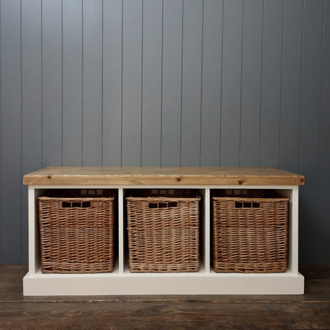 Rustic Shoe Bench with 3 baskets included
