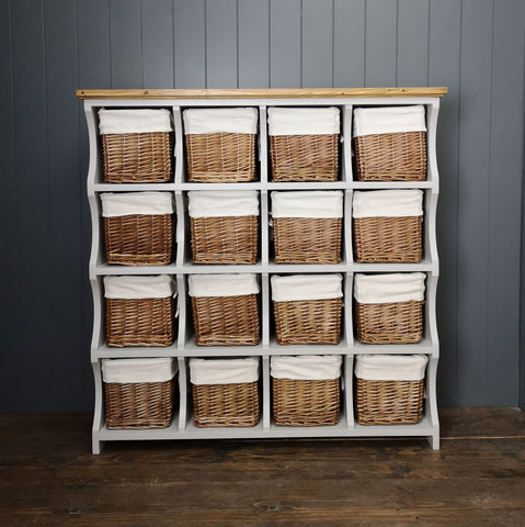 Large storage chest with 16 cubbies and baskets for hallway, playroon or nursery storage