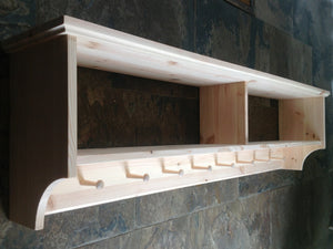 Wide hat & coat rack with shelf. Wall mounted solid wood display shelves with wooden peg board for hall kitchen bathroom or bedroom
