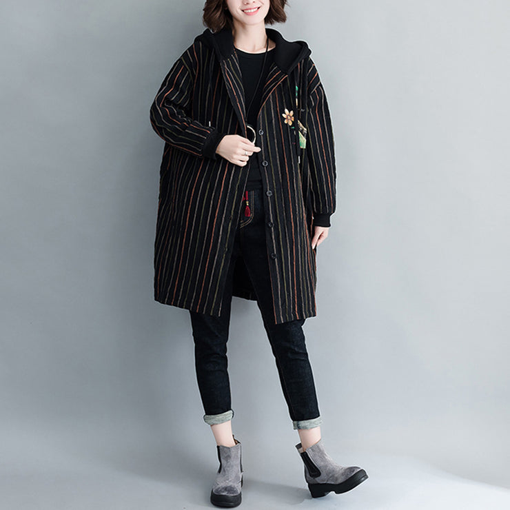 Autumn Casual Coat Striped Large Size Cardigans Long Long Sleeve
