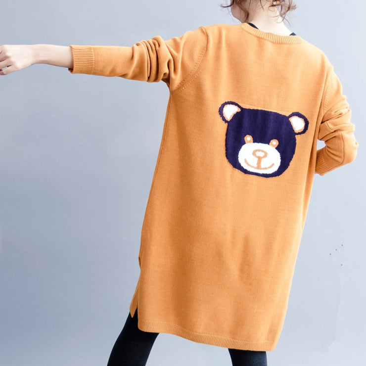 Autumn Casual Dresses Cartoon Slit Knee-Length Long Straight Long Sleeve