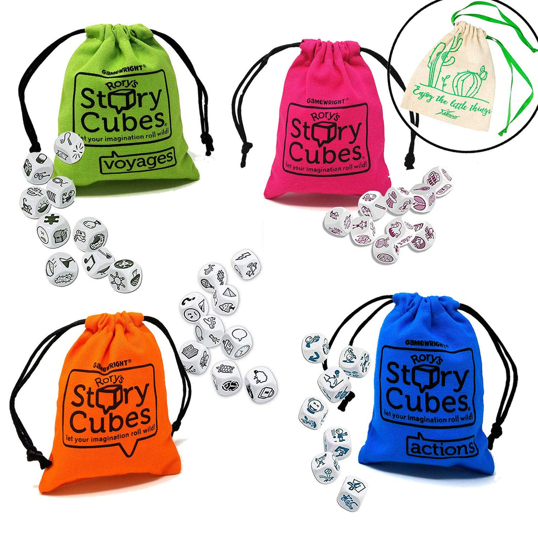 Voyages /& Hickoryville Velour Drawstring Bag 4 Items Rorys Story Cubes Bundle Includes Rorys Story Cubes Classic Original Actions