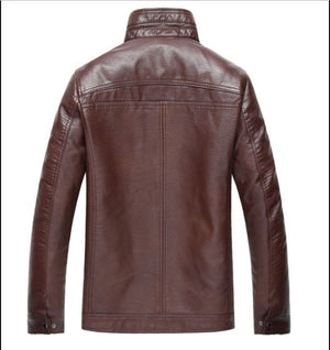 Leather jacket with artificial fur