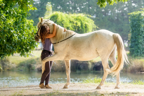 Girl and horse hugging