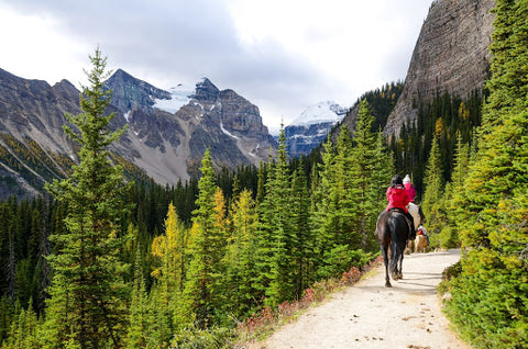 Trail riding in mountains