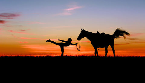 Person doing yoga with horse at sunset