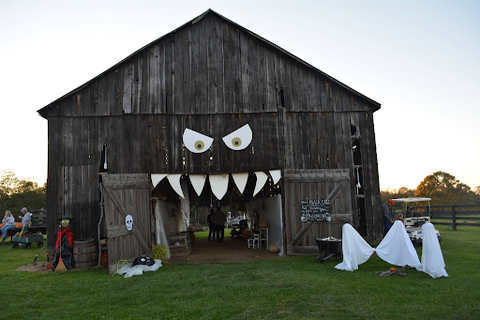 Barn decorated for halloween