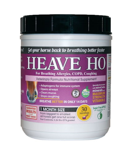 "Equine Medical and Surgical Associates offers a product by the name of  ""Heave Ho"", which allows your horse to improve their breathing in just 14 days."