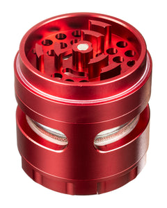 Red 4-Piece Large Radial Teeth Aluminum Grinder