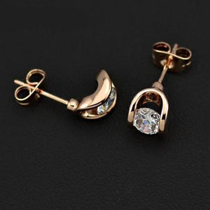 Rose Gold Moon Earrings - Cokota