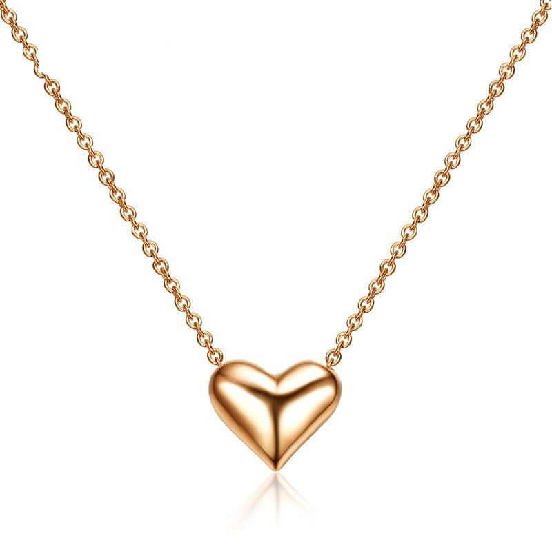 Champagne Gold-Color Heart Necklace - Cokota